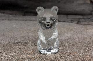 ボヘミアンガラスのくまの置きもの(大/透明)