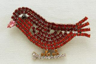 ラインストーンのブローチ/鳥(赤)