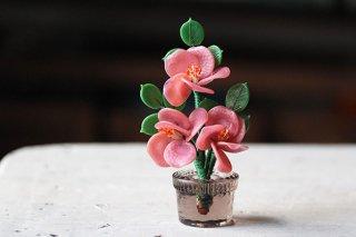 植木鉢に咲くガラスの花(ピンク)/チェコ