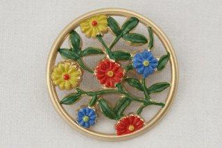 ヴィンテージプラブローチ/丸額縁の花