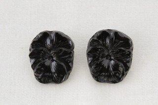 アンティークガラスボタン/パンジー(黒)
