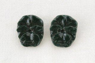 アンティークガラスボタン/パンジー(深緑)