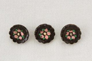 アンティークガラスボタン/焦げ茶ピンク花
