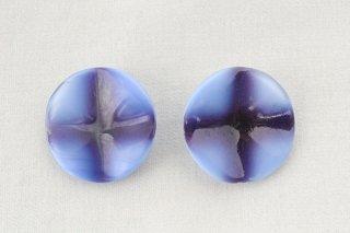 ヴィンテージガラスボタン/青紫のクロス模様