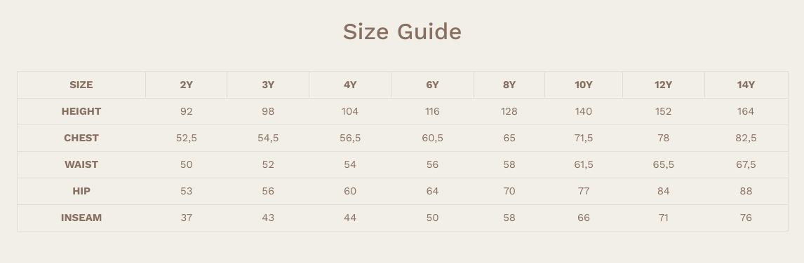 jellymade size guide