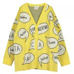 BEAULOVES ビューラブズ Oversize Knit Cardigan, Saffron Yellow, Speech Bubbles