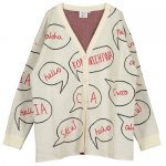 BEAULOVES ビューラブズ Oversize Knit Cardigan, Vanilla, Speech Bubbles