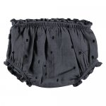 Mini Sibling - Baby Cotton Pants, Charcoal, Logo, Black