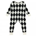 BEAU LOVES ビューラブズ Knit Harlequin Romper / Black / Natural