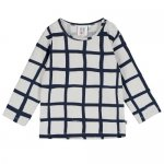BEAU LOVES ビューラブズ Baby Long Sleeve T Shirt - Quiet Grey,Grid AOP,Navy