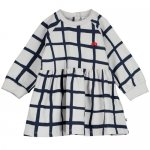 BEAU LOVES ビューラブズ Oversized Raglan Baby Dress - Quiet Grey,Grid AOP,Navy
