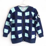 BEAU LOVES ビューラブズ Zip Jacket - Navy, Gingham, Pale Green