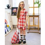 BEAU LOVES ビューラブズ Button Front Dress - Red, Gingham, Sky Blue
