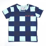 BEAU LOVES ビューラブズ Baby Short Sleeve T-shirt - Navy, Gingham, Pale Green