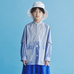 GRIS Stripe patchwork Shirt- Blue