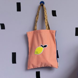 【sticky lemon】tote bag sprinkles | lemonade pink + indigo blue