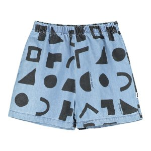 【BEAU LOVES】Washed Blue Chambray Positive Thoughts Baby Shorts