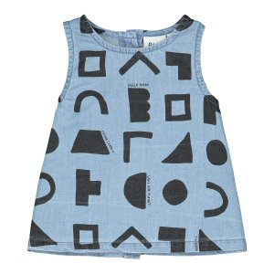 【BEAU LOVES】Washed Blue Chambray Positive Thoughts A Line Baby Top