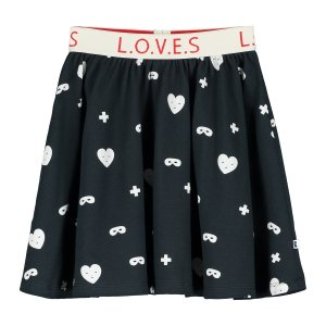 <img class='new_mark_img1' src='https://img.shop-pro.jp/img/new/icons47.gif' style='border:none;display:inline;margin:0px;padding:0px;width:auto;' />【BEAU LOVES】Black Hearts + Masks Circle Skirt