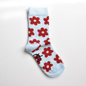【wynken】DAILY ANKLE SOCK - PALE BLUE / RED FLOWERS