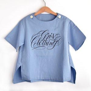 【GRIS】 Print Pullover Shirt - Sax Blue