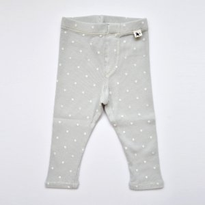 【my little cozmo】【21SS】ORGANIC RIB PRINT KIDS LEGGINGS - LIGHT GREY