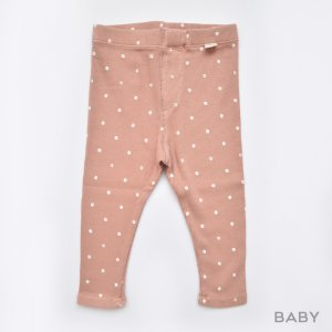 【my little cozmo】【21SS】ORGANIC RIB PRINT BABY LEGGINGS - TERRA COTTA