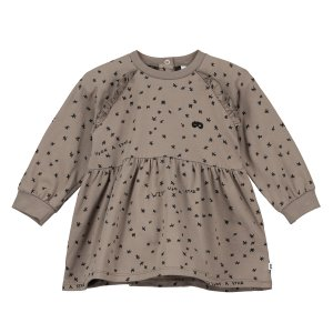 【BEAU LOVES】Washed Brown Wish Upon A Star Raglan Frill Sleeve Baby Dress