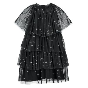 【BEAU LOVES】Black 'Love You Love Me' Tulle Tiered Dress