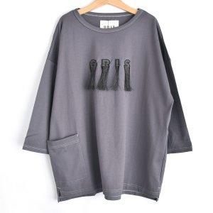 【GRIS】Embroidery Three-quarter T Shirt / Purple
