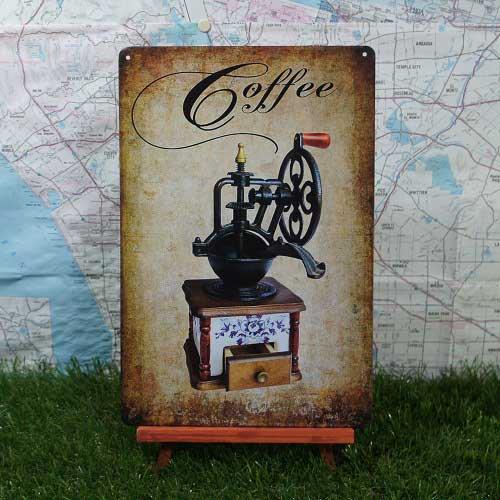 【ブリキ看板】Coffee/コーヒー コーヒーミル
