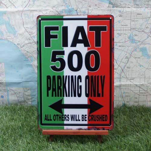 【ブリキ看板】Fiat500/フィアット500 Parking Only
