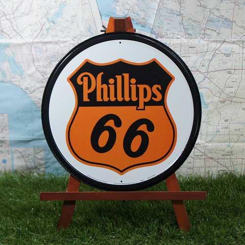 【ブリキ看板】Phillips 66/フィリップス66 ロゴ 丸型