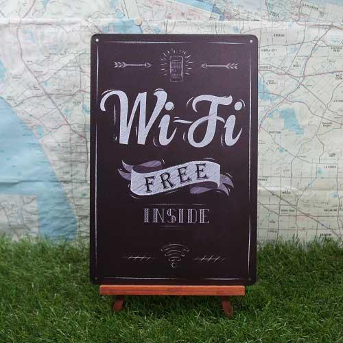 【ブリキ看板】Wi-Fi/ワイファイ Free Inside