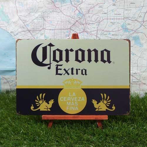 【ブリキ看板】Corona Extra/コロナ・エキストラ ロゴ
