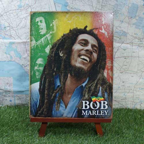 【ブリキ看板】Bob Marley/ボブ・マーリー Rastafarian Color