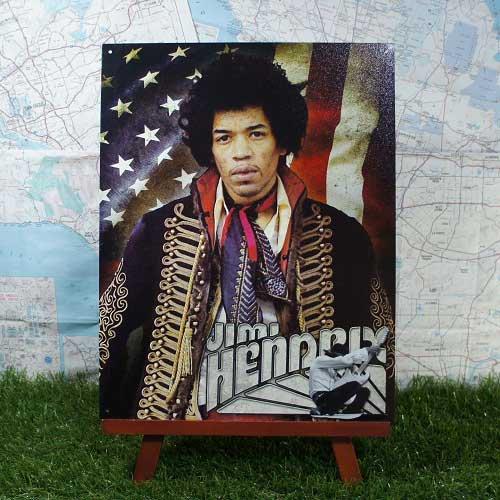 【ブリキ看板】Jimi Hendrix/ジミ・ヘンドリックス 星条旗