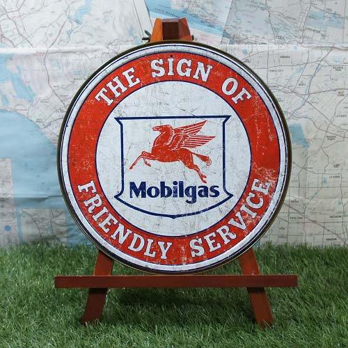 【ブリキ看板】Mobil/モービル Pegasus 丸型