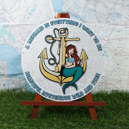 【ブリキ看板】Mermaid/マーメイド 丸型