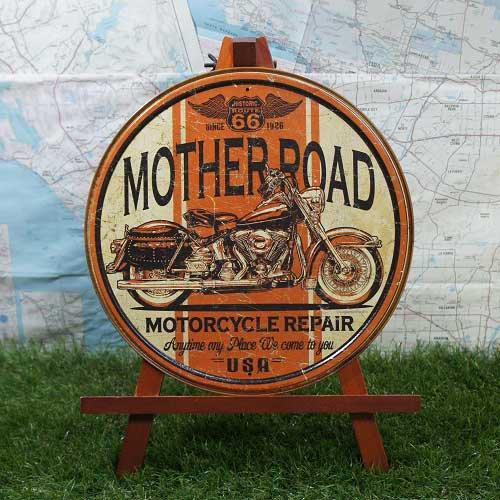 【ブリキ看板】ROUTE66/ルート66 Motorcycle Repair 丸型