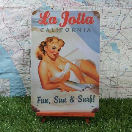 【ブリキ看板】Pin-up Girl/ピンナップガール La Jolla