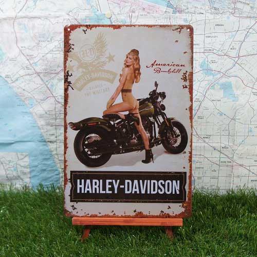 【ブリキ看板】Pin-up Girl/ピンナップガール Harley-Davidson