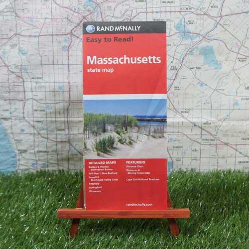 【輸入地図】Massachusetts/マサチューセッツ州 State Map -Rand McNally-