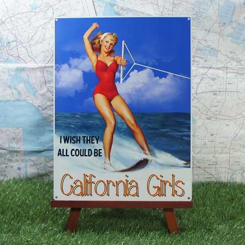 【ブリキ看板】Pin-up Girl/ピンナップガール California Girls