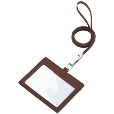 レザーIDカードホルダー(ネックストラップ付)/チョコレートブラウン