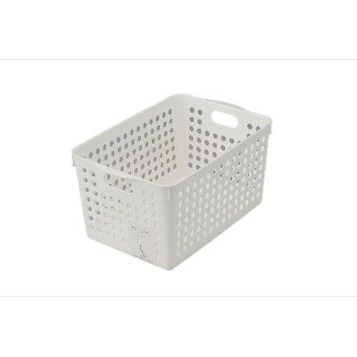 【国産】ストックバスケット ディープ(ホワイト)