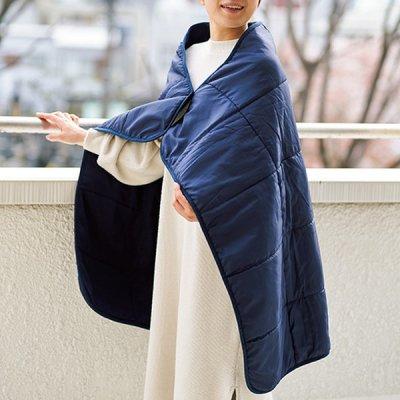 キルトフリースブランケット(巾着付)/ネイビー