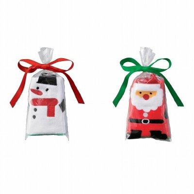 クリスマス・ハンドタオル(サンタ&スノーマン) 1個