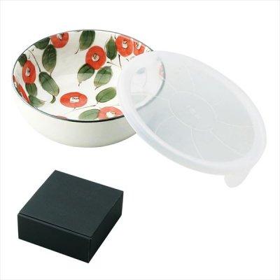 【国産】椿柄蓋付きノンラップ小鉢1P