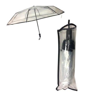 透明三段折りたたみ傘